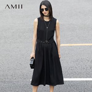 Amii[极简主义]2017夏新修身显瘦圆领腰带插袋无袖连衣裙11781505