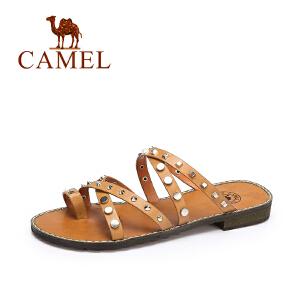 camel骆驼女鞋 夏季时尚新品拖鞋女 欧美朋克风铆钉低跟拖鞋