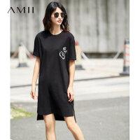 Amii[极简主义]2017夏装新品宽松棉弹落肩短袖印花连衣裙11721988