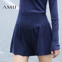 【AMII超级大牌日】[极简主义]2016女冬装新品纯色显瘦褶裥大码休闲短裤11643566