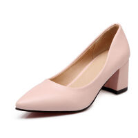 O'SHELL欧希尔春季上新008-1504韩版粗跟高跟尖头女士单鞋