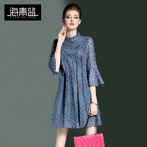 海青蓝2017春装新款纯色简约优雅立领七分喇叭袖宽松连衣裙女0045