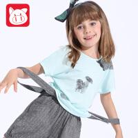 小猪班纳童装2017夏装时尚休闲宽松上衣女童新款纯棉短袖T恤韩版