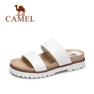 Camel/骆驼女鞋 夏季时尚简约舒适女拖鞋 韩版纯色厚底拖鞋