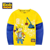 BOB童装巴布工程师春新款男童长袖纯棉t恤男中童卡通圆领打底衫