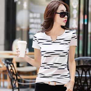 2017夏季新款女装上衣条纹短袖T恤女韩版修身显瘦V领半袖体恤女潮