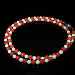 6mm珊瑚配白珊瑚项链