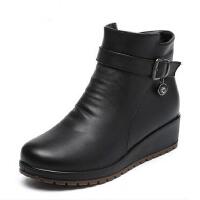 中老年短靴妈妈鞋棉鞋 防滑棉靴加绒坡跟 保暖冬季中年女鞋