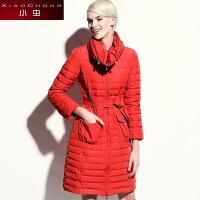小虫 冬装新款保暖腰带大口袋修身收腰外套羽绒服女中长款