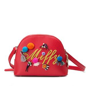 米菲2017春夏新款潮女包包 可爱缤纷喜庆萌趣单肩斜跨包小贝壳包