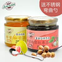送弯曲勺 Socona蜂蜜柚子茶500g+桂圆茶500g韩国风味水果酱冲饮品