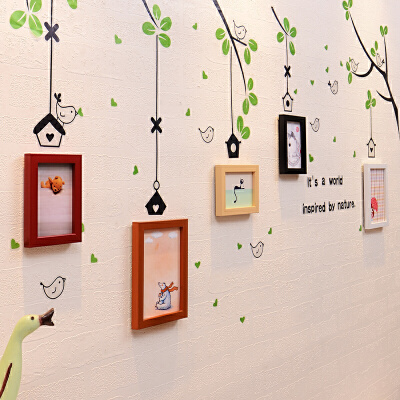 御目 照片墙 客厅卧室幼儿园房间儿童组合挂墙相片墙相框墙个性小鸟墙贴家居装饰温馨儿童相框墙,适合放生活照,加送墙贴