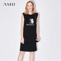 Amii[极简主义]夏装2017新款街头字母印花大码无袖连衣裙11722201