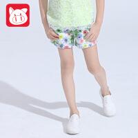 小猪班纳童装2017夏装新款儿童纯棉休闲裤中大童裤子潮 女童短裤