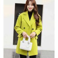 外套女 西装上衣 新款韩版修身毛呢外套中长款显瘦呢子大衣女上衣