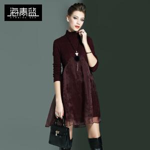 海青蓝新款通勤时尚欧根纱拼接气质长袖大摆连衣裙女7317