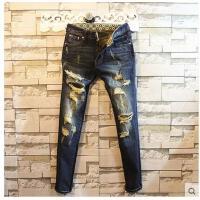 新款时尚潮流个性帅气时尚百搭男长裤破洞牛仔裤舒适