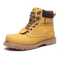 冬季加绒棉鞋男英伦短靴高帮情侣工装靴雪地军靴圆头马丁靴