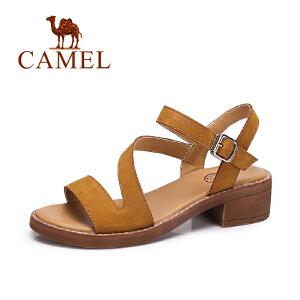 Camel/骆驼女鞋 夏季时尚舒适凉鞋女 简约复古方跟凉鞋