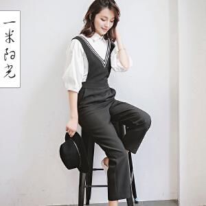 一米阳光2017春款韩版宽松直筒背带裤女九分裤裤子