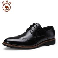骆驼牌男鞋 秋季舒适商务正装皮鞋耐磨系带低帮男皮鞋尖头