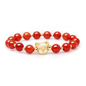 芭法娜 夏拉奇 猫咪单圈简约时尚手链 红玛瑙/白砗磲