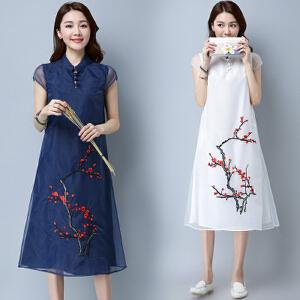 【当当年中庆】新款复古民族风女装中长款棉麻欧根纱梅花刺绣短袖连衣裙