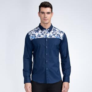 才子男装(TRIES)长袖衬衫 男士2017春夏新款时尚印花拼接修身长袖休闲衬衫