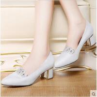 莫蕾蔻蕾春夏新款女高跟鞋韩版粗跟尖头百搭性感水钻单鞋甜美公主鞋子6X303S