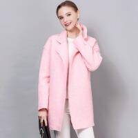 冬季纯色中长款毛呢茧型大衣