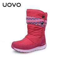 UOVO2017冬季新款女童靴子雪地儿童靴女童中筒靴小大童棉靴潮冬靴 幽鹤