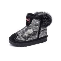 木木屋童鞋冬季新款女童低筒短靴 加绒公主靴子儿童雪地靴
