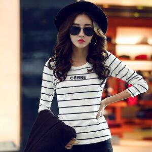 2017长袖T恤女春装韩版女装上衣T恤圆领条纹打底衫春秋外穿显瘦小衫WK0871