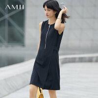 Amii[极简主义]2017夏装新款大码通勤无袖拉链腰带连衣裙11742646