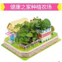 儿童益智拼插纸制玩具diy手工拼装模型3D立体 健康之家种植农场 种植拼图