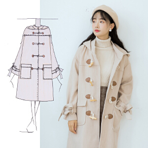 【满2件6折】白领公社 风衣 女学生老师新款韩版女士风衣女中长款大衣外套修身收腰潮流女 外套