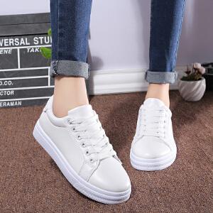 秋季新款小白鞋厚底系带平底单鞋女运动休闲鞋学院风学生板鞋潮鞋