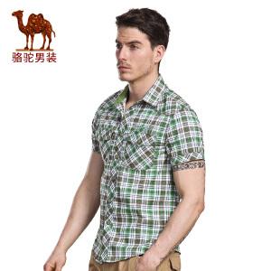骆驼&熊猫联名系列男装青年修身尖领时尚格子纯棉短袖衬衫男