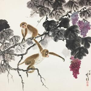 方楚雄《金猴献寿》著名画家