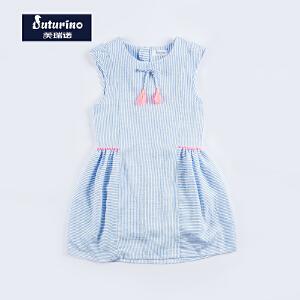 [满200减100]芙瑞诺童装女童夏装甜美清新条纹连衣裙A字公主裙舒适透气