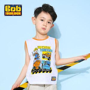 [满200减100]BOB巴布工程师童装男童夏装时尚圆领童趣印花纯棉无袖T恤背心