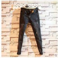 新款韩版时尚修身小脚休闲青年长裤子潮男士新品黑灰色牛仔裤