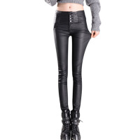 冬加绒皮裤女外穿薄款高腰黑色打底裤哑光pu铅笔裤厚裤子女