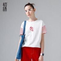 初语2017夏装新款女装 条纹文字印花圆领短袖T恤女 宽松纯棉恤衫