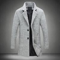男士秋冬韩版修身大码毛呢外套男士修身毛呢外套中长款风衣