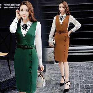 香衣宠儿 2017春季连衣裙两件套 韩版背带裙长袖雪纺衫套装裙子 2360-2318