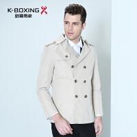 劲霸男装风衣 青年男士西装领外套秋冬新款时尚修身风衣外套男装