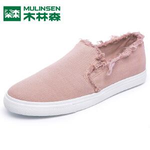 木林森2017夏季新品运动韩版套脚破洞潮一脚蹬帆布鞋小清新粉色百搭学生鞋
