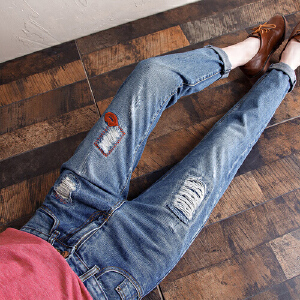 2017春夏秋装新款无弹女士牛仔裤长裤 韩版宽松显瘦水洗破洞牛仔长裤YL703