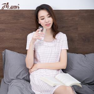 顶瓜瓜睡裙女纯棉 短袖圆领蕾丝花边甜美家居裙女士睡衣